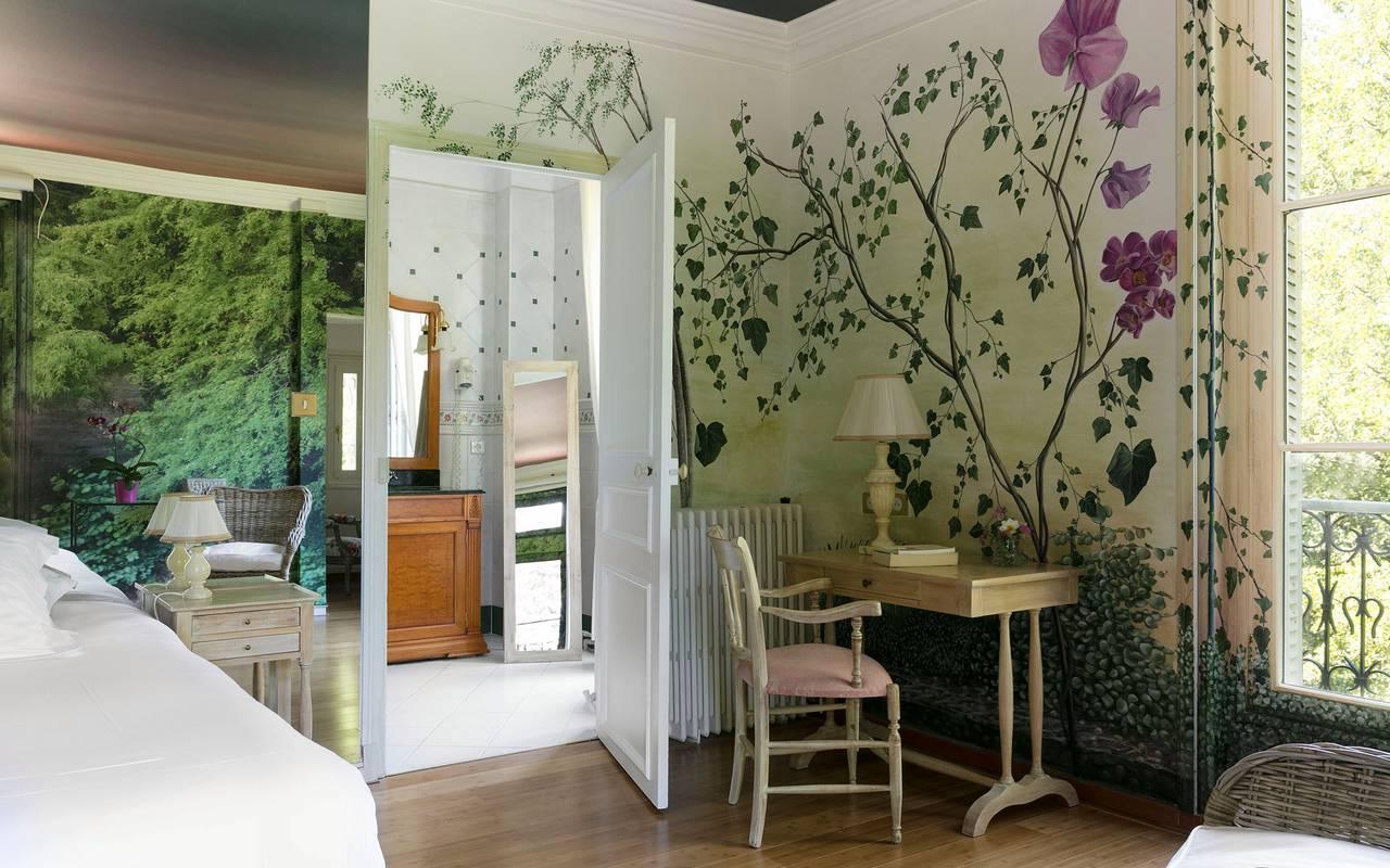 Decorated room, Sologne hotel, Château les Muids