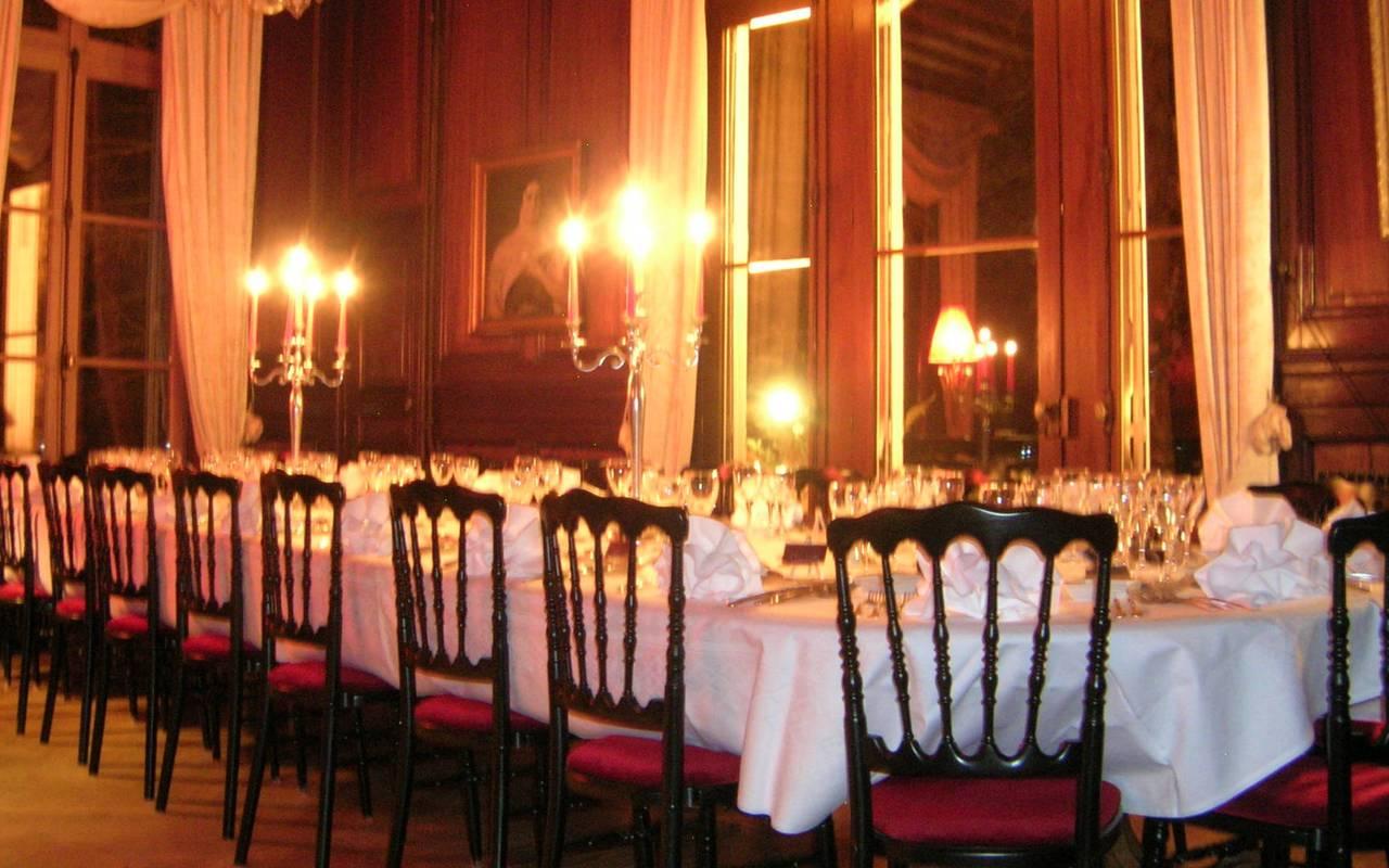 salle de réception du château en Sologne