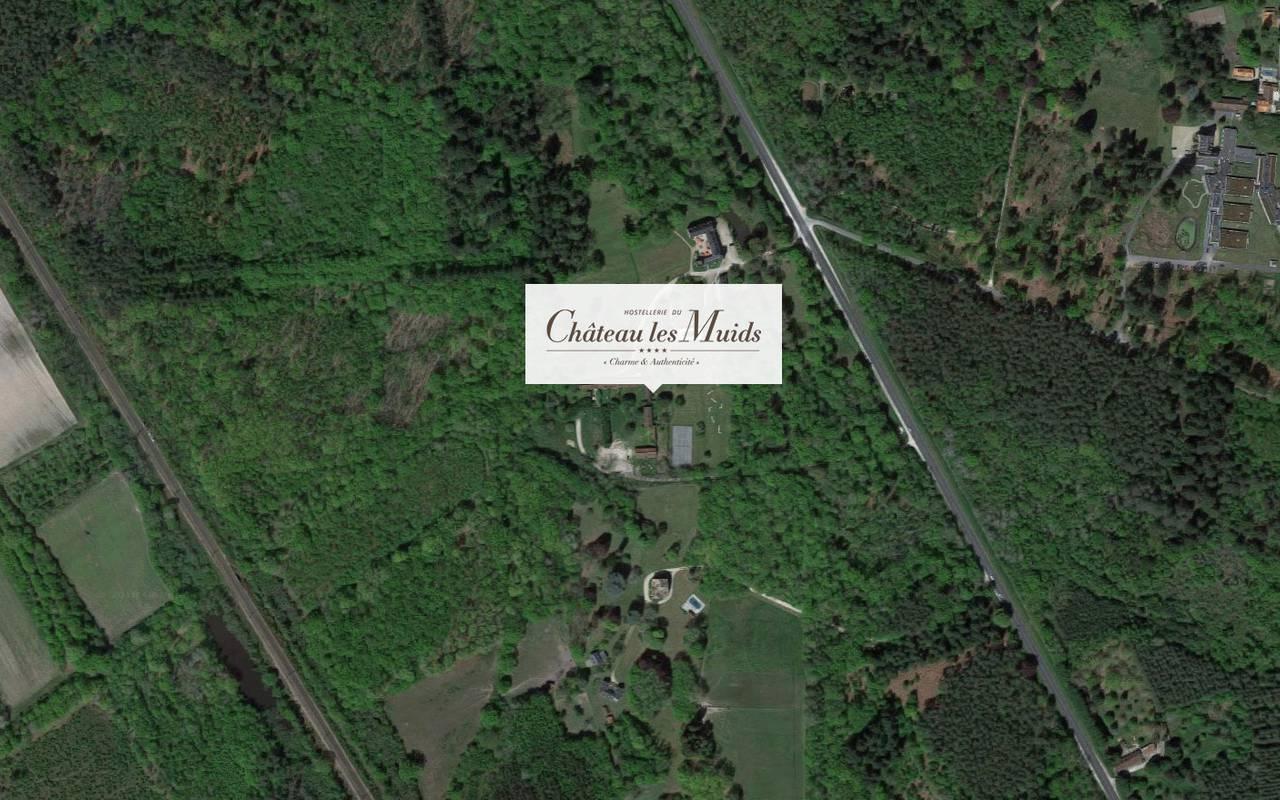 Localisation Château les Muids, hotel en Sologne